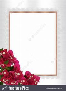 Birthday Invitation Software Illustration Of Floral Border Bougainvillea Gold Frame