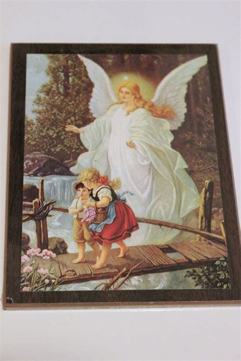 guardian angel  children crossing bridge wall plaque