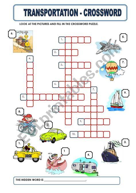 transportation crossword esl worksheet by macomabi