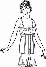 Corset Coloring Pages Adults Template Bustier sketch template