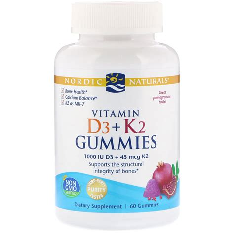 Vitamin k2 is naturally used in a healthy human body to deposit calcium in the places it belongs. DoctorsChoice: Vitamin D3+K2 by Nordic Naturals - 60 Gummies