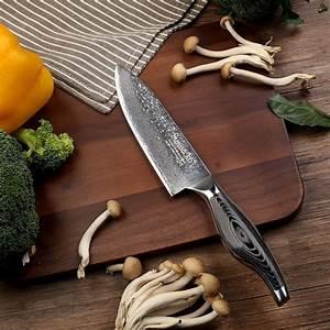 Sunnecko, 6, U0026quot, Inch, Chef, Knife, Kitchen, Knives, Japanese, Damascus, Vg10, Steel, Sharp, 60hrc, Blade, Pakka