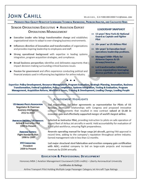 sle resume operations executive