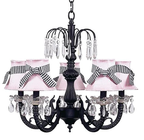 chic waterfall black chandelier with pink shades 7047