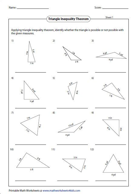 Triangle Sum Theorem Worksheet Homeschooldressagecom