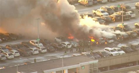 newark airport fire today  cars burned  parking