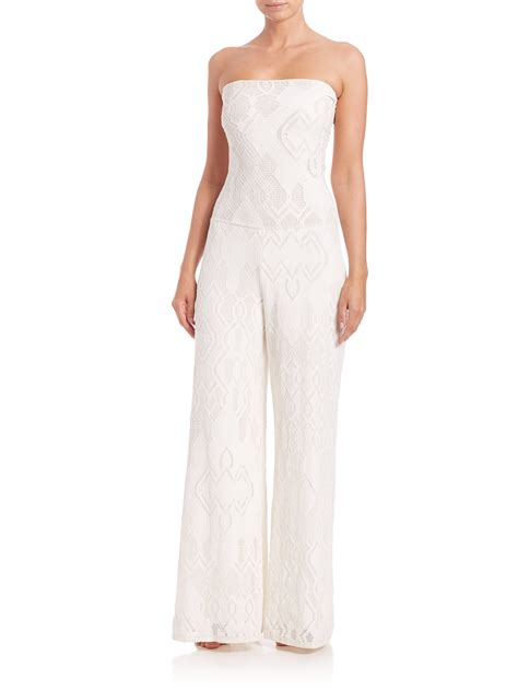 lace jumpsuit white fuzzi strapless lace jumpsuit in white lyst