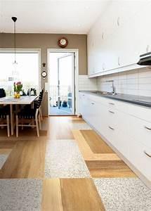 cuisine carrelage et salon parquet With carrelage imitation parquet cuisine