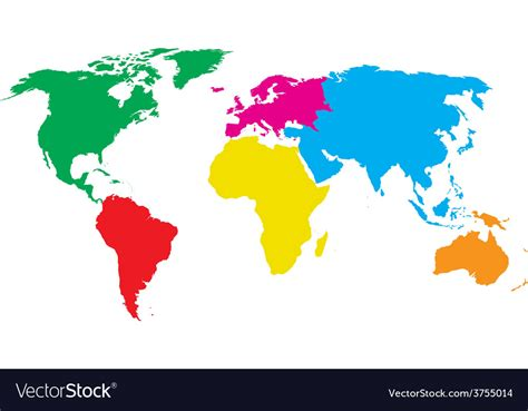 colorful world map colourful world map royalty free vector image vectorstock