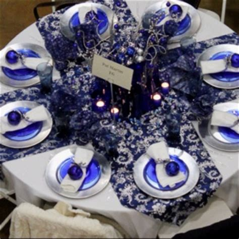 christmas table  cobalt blue silver chargers blue