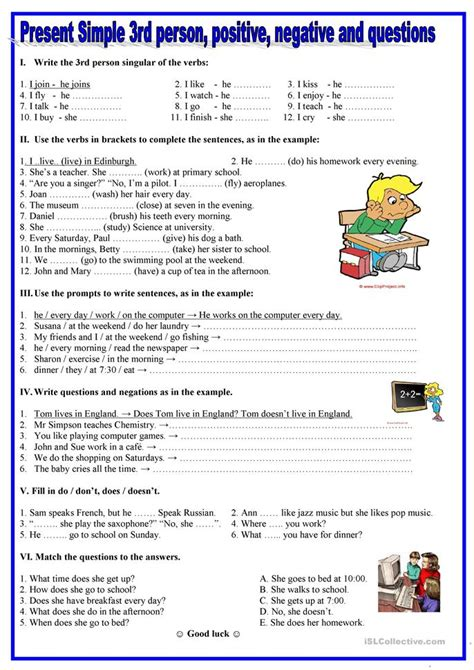 Present Simple 3rd Person,positive, Negative,questions Worksheet  Free Esl Printable