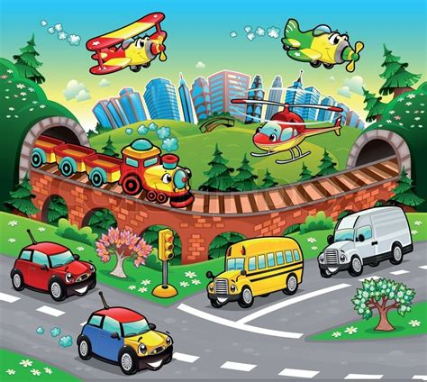 Funny Vehicles In The City. Cartoon And Vector