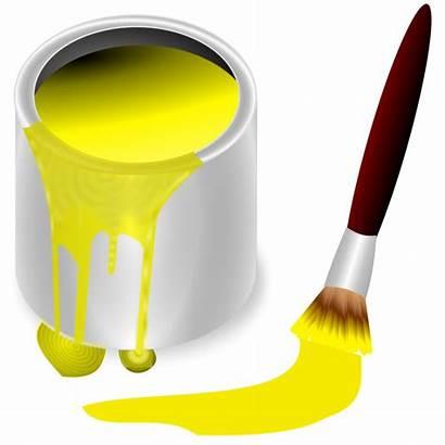 Bucket Paint Clipart Yellow Clip Brush Gelb
