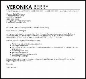 Court clerk cover letter sample livecareer for Sample cover letter for court clerk position