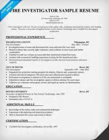 Fire Investigator Resume Sample Resumes Design