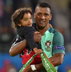 Luis Nani celebrated Portugal's win over Croatia with his son