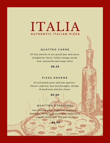 customize  italian menu templates  canva