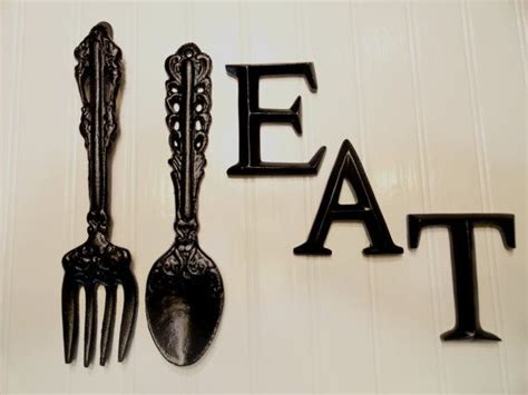Black Wooden Spoon And Fork Wall Decor by Kitchen Wall Decor Black Large Fork Spoon Eat Word Sign