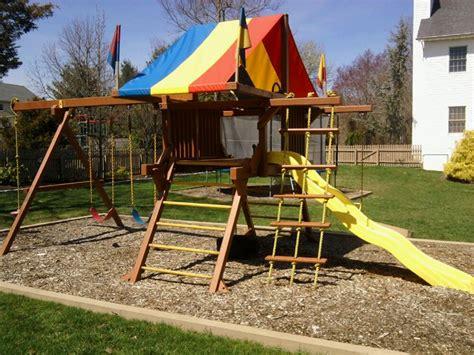 rainbow play system restoration wood swing set
