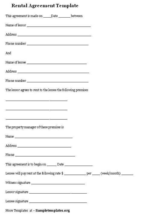 rental agreement template rental agreement template