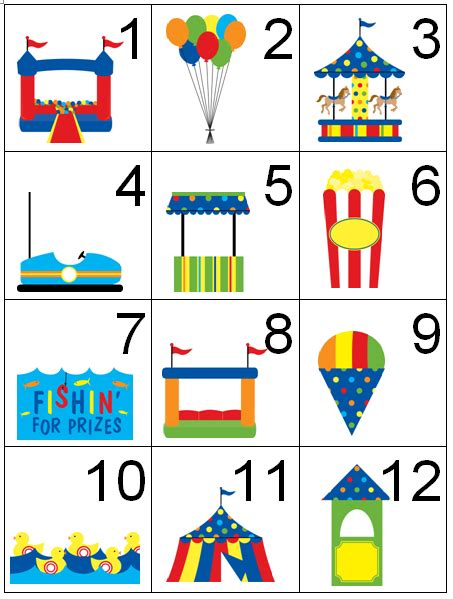 toddler activity carnival circus theme calendar counting 961 | 264bb689ed3c1f35444a431a4b5a1bd2