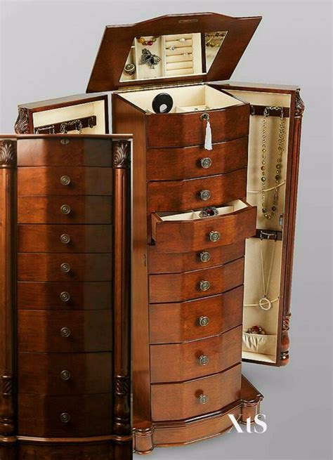 wood jewelry armoire box storage chest bedroom furniture