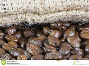 Macro Of Coffee Beans And Bag Stock Image - Image of bean ...