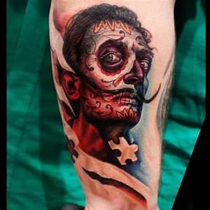 Arm Fantasy Mexican Skull Salvador Dali Tattoo by Logan ...