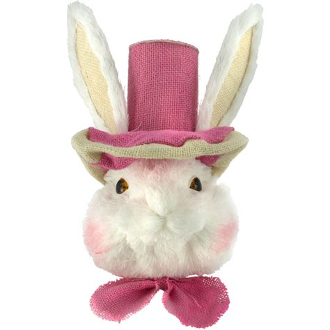 """13"""" White Easter Rabbit With Pink Top Hat [23298"""