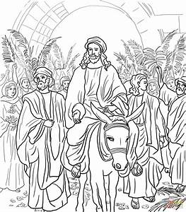 Jesus Entry Into Jerusalem Coloring Page Free Printable