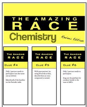 amazing race review activity science chemistry unit