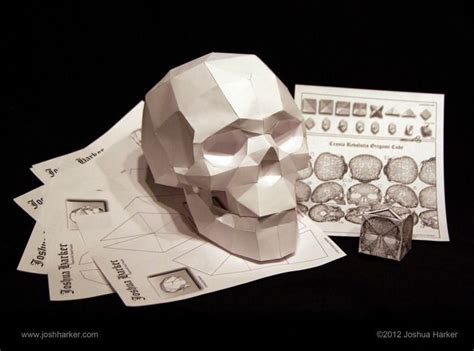 papercraft skull origami cube puzzles click  view   origami calaveras manualidades