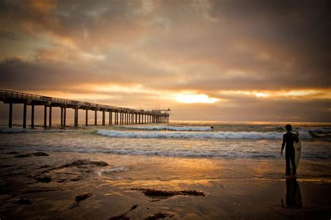 San Diego Beach Sunset With Surfer Scripps Pier Jolla