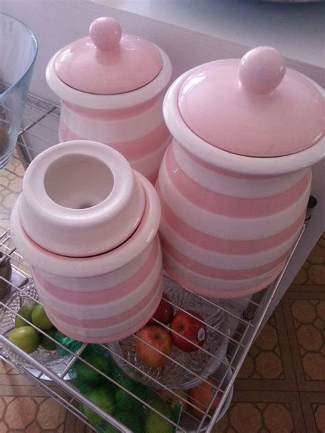 retro pink  white striped kitchen canister