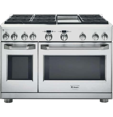 ge monogram zdpndpss  stainless steel dual fuel gas sealed burner double oven range