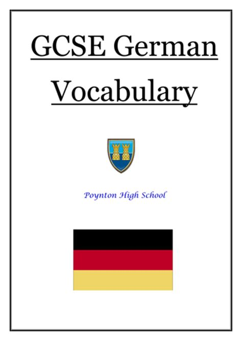 New Gcse German Vocabulary For New Aqa Spec By Noonoophil
