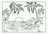 Sunset Coloring Sea Printable Landscape Both sketch template