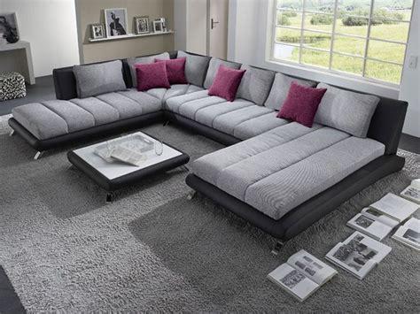 canapé d 39 angle panoramique gris et noir luberon 5