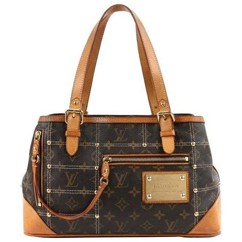 louis vuitton ss  sac riveting brown monogram gold studs handbag  ed louisvuitton