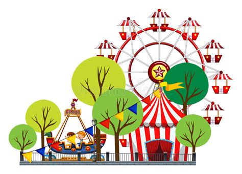 Grande Roue Et Enfants Sur Le Tour Illustration De Vecteur