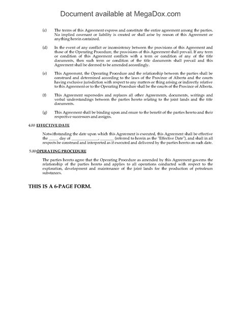 alberta joint operating agreement legal forms