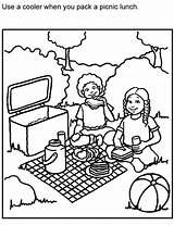 Picnic Coloring Printable Safe Colouring Blanket Clipart Bench Safety Non Preschool Picnics Template Summer Activities Clip Adults Perishable Foods Sketch sketch template