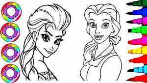 Coloring Drawings Disney U0026 39 S Elsa And Belle With Golden