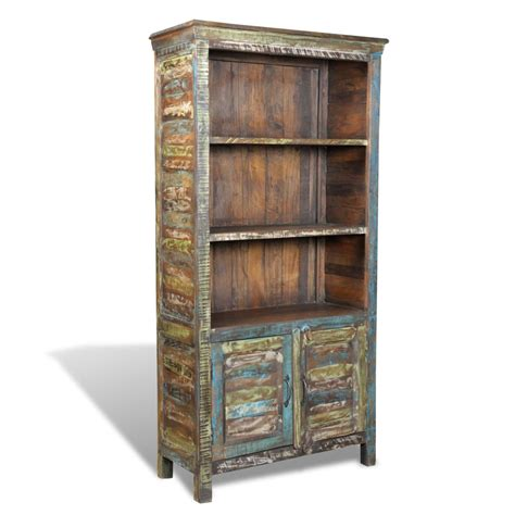 Bookshelf With Doors by Reclaimed Wood Bookshelf Multicolour Bookcase With 3