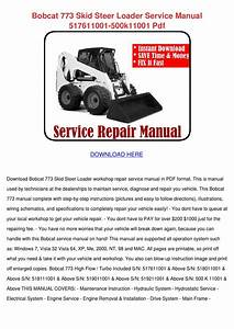 Bobcat 773 Skid Steer Loader Service Manual 5 By