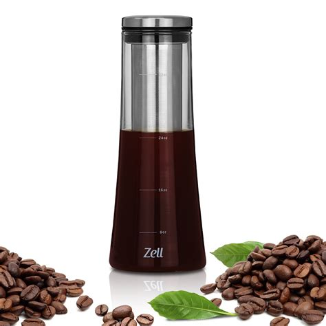 Airtight cold brew coffee maker. Zell Cold Brew Coffee Maker | Best Home Iced Coffee & Tea Maker with Removable Stainless Steel ...