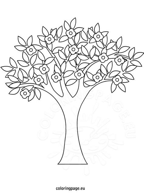 spring tree coloring coloring page