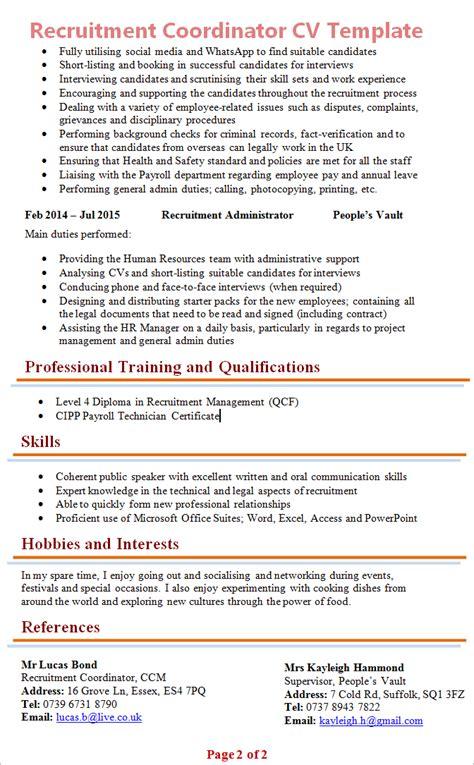 recruitment coordinator cv template