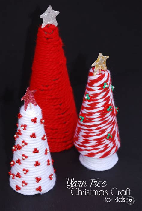 yarn tree christmas craft for kids onecreativemommy com