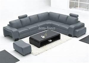 Canape Cuir Gris : canape angle en cuir gris ~ Teatrodelosmanantiales.com Idées de Décoration